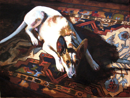 portrait of dog on rug