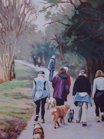ladies walking dogs in a park