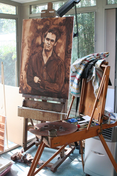 painting on easel in art studio